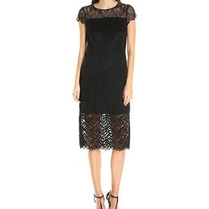 Kensie Lace Contrast Sheath Dress Black Small